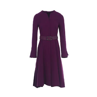 belted flare dress purple